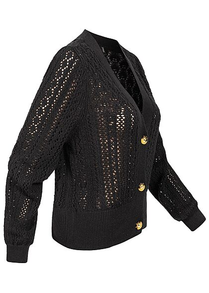 ONLY Damen 3/4-Arm V-Neck Strukturstrickjacke Cardigan Knopfleiste schwarz