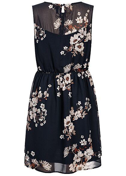 Vero Moda Damen Mini Kleid Spitzenbesatz Gummibund Blumen Muster navy blazer blau