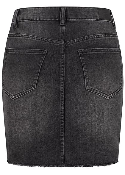 Vero Moda Damen NOOS Mini Jeans Rock offener Saum 5-Pockets schwarz