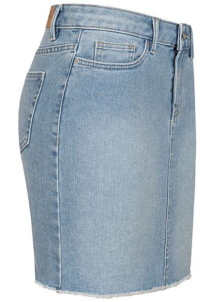 Vero Moda Damen NOOS Mini Jeans Rock offener Saum 5-Pockets hell blau denim
