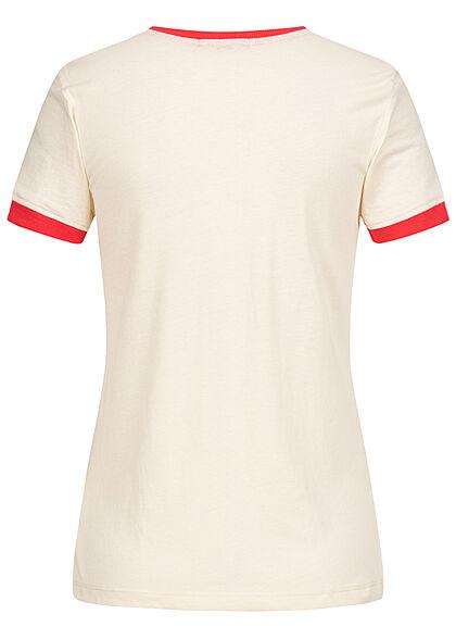 Brave Soul Damen 2-Tone T-Shirt Happy Regenbogen Print cream beige rot