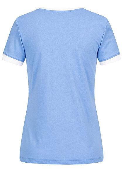 Brave Soul Damen 2-Tone T-Shirt Happy Regenbogen Print medium blau weiss