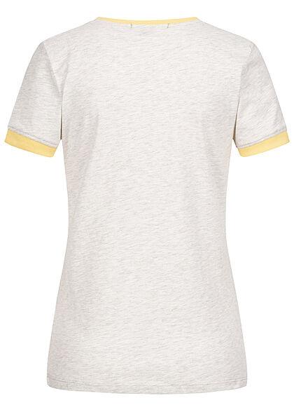 Brave Soul Damen 2-Tone T-Shirt Happy Regenbogen Print hell grau marl gelb