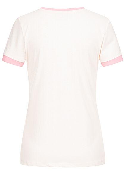 Brave Soul Damen 2-Tone T-Shirt Kindness Peace Print sea salt rosa orchid pink