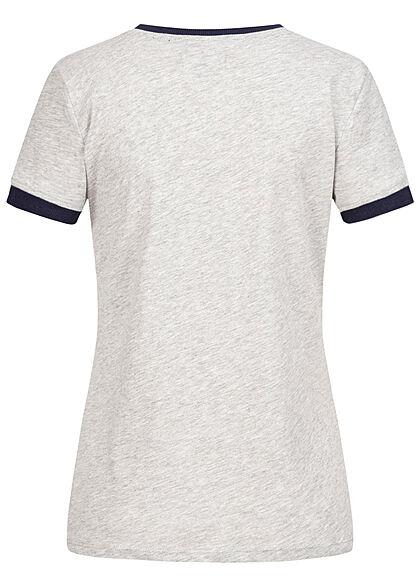 Brave Soul Damen 2-Tone T-Shirt Kindness Peace Print grau marl blau