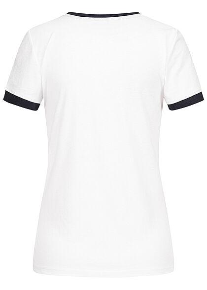 Brave Soul Damen 2-Tone T-Shirt Aloha Hawaii Palmen Print weiss blau