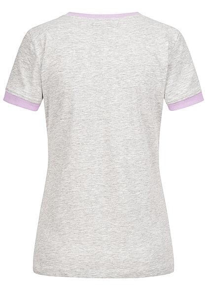 Brave Soul Damen 2-Tone T-Shirt Aloha Hawaii Palmen Print grau marl orchid lila