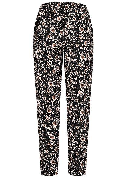 Hailys Damen Viskose Stoffhose Gummibund Blumen Muster 2-Pockets schwarz