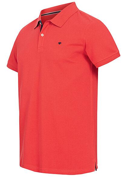 Tom Tailor Herren Polo T-Shirt Logo Stickerei powerful rot