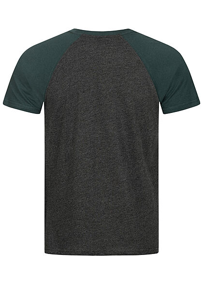 Urban Classics Herren 2-Tone Raglan T-Shirt charcoal dunkel grau bottle grün