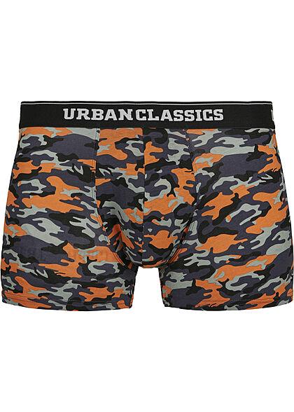 Urban Classics Herren 3-er Pack Boxer Shorts blau camo & orange & schwarz