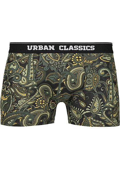 Urban Classics Herren 3-er Pack Boxer Shorts dunkel grün & Paisley & schwarz