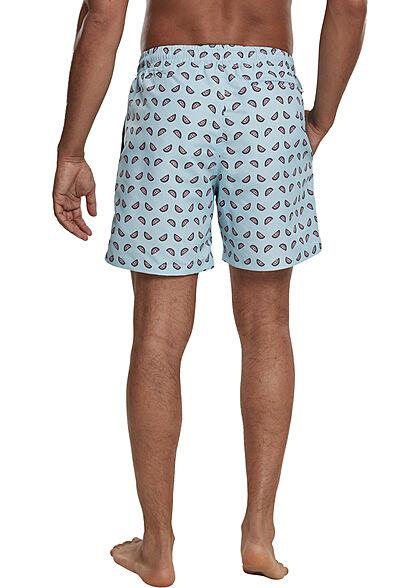 Urban Classics Herren Swim Shorts Tunnelzug Melonen Print ocean blau