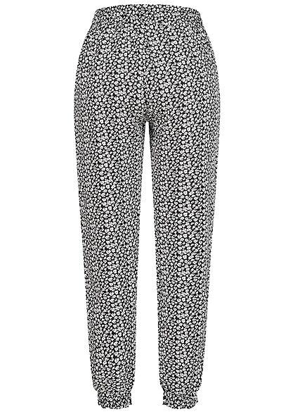 Hailys Damen Viskose Stoffhose Tunnelzug Blumen Muster 2-Pockets schwarz weiß
