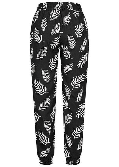 Hailys Damen Viskose Stoffhose Tunnelzug Tropical Print 2-Pockets schwarz weiß