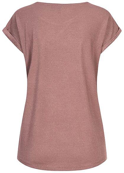Vero Moda Damen Oversized Lurex T-Shirt mit Streifen rose braun