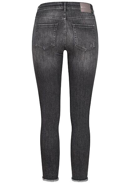 ONLY Damen NOOS Skinny Ankle Jeans Hose Fransen Crash Optik 5-Pockets schwarz grau denim