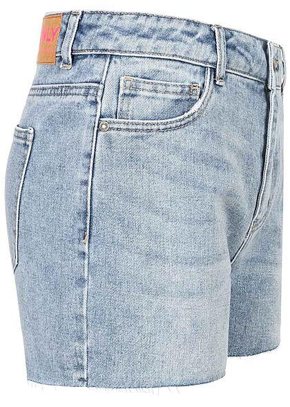 ONLY Damen High-Waist Denim Shorts mit Fransen am Saum 5-Pockets medium blau denim