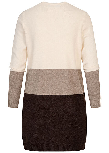 ONLY Damen NOOS Midi Colorblock Cardigan 2-Pockets whitecap gray braun