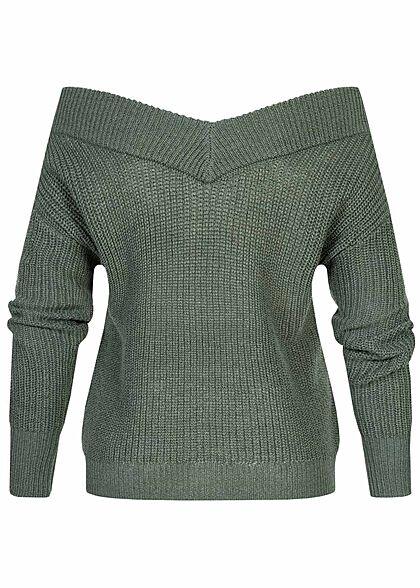 ONLY Damen NOOS V-Neck Off-Shoulder Strickpullover balsam grün
