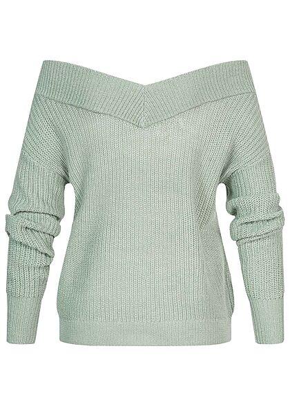 ONLY Damen NOOS V-Neck Off-Shoulder Strickpullover ether grün