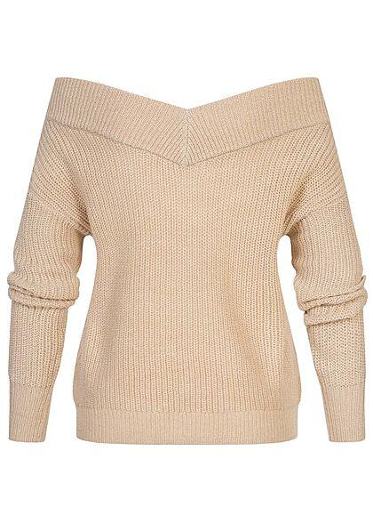 ONLY Damen NOOS V-Neck Off-Shoulder Strickpullover pumice stone beige
