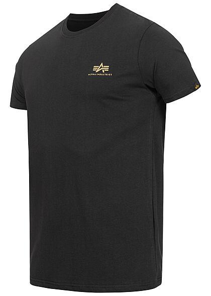 Alpha Industries Herren T-Shirt mit Logo Back Print Camouflage Design schwarz