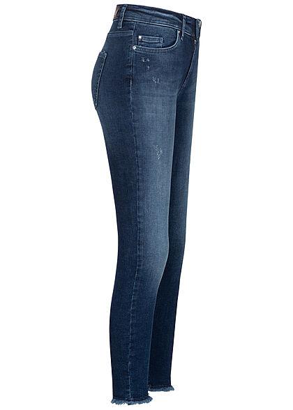 ONLY Damen NOOS Skinny Ankle Jeans Hose Mid-Waist 5-Pockets Fransen dunkel blau denim