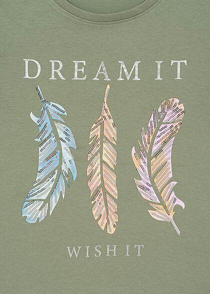 ONLY Damen Regular Fit T-Shirt Dream it Federn Print mit Pailletten shadow grün