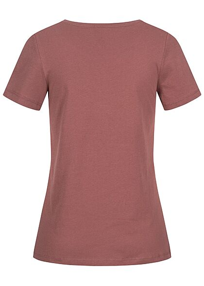 ONLY Damen Regular Fit T-Shirt Wild Heart Federn Print mit Pailletten rose braun bordeaux