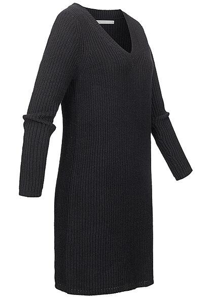 ONLY Damen V-Neck Midi Strickkleid mit Struktur schwarz