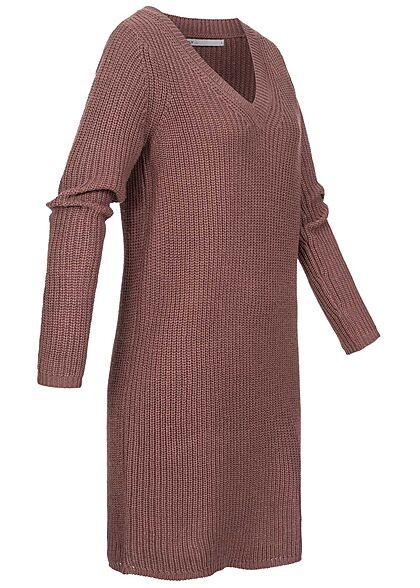 ONLY Damen V-Neck Midi Strickkleid mit Struktur rose braun bordeaux