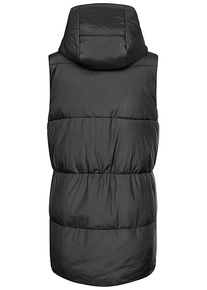 ONLY Damen lange Steppweste mit Kapuze 2-Pockets schwarz