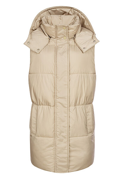 ONLY Damen lange Steppweste mit Kapuze 2-Pockets crockery beige