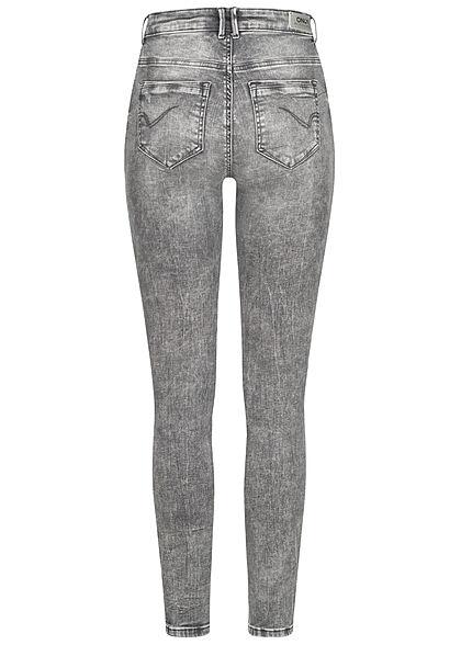ONLY Damen NOOS High-Waist Skinny Jeans Hose 5-Pockets washed medium grau denim