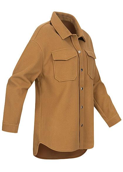 ONLY Damen Kurz-Shacket Jacke mit Knopfleiste & 2 Brusttaschen toasted coconut