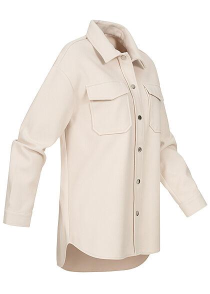 ONLY Damen Kurz-Shacket Jacke mit Knopfleiste & 2 Brusttaschen pumice stone