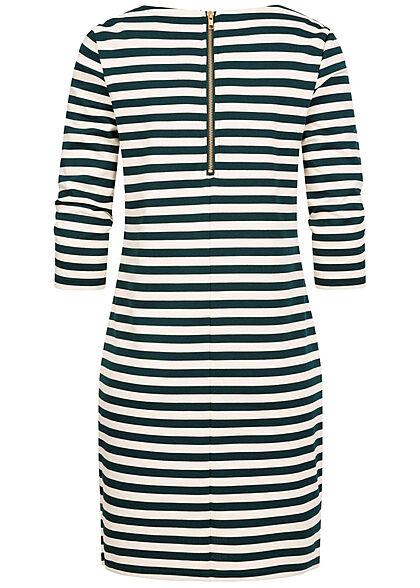 VILA Damen NOOS 3/4 Arm Kleid Streifen Muster Zipper hinten spruce grün beige