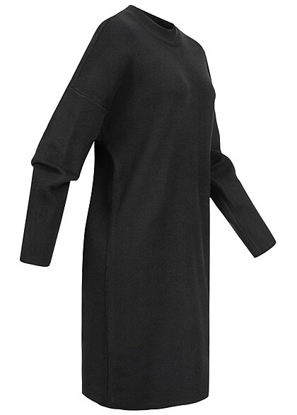 VILA Damen NOOS Oversized Strickkleid mit Stehkragen schwarz