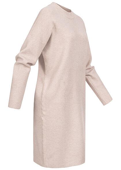 VILA Damen NOOS Oversized Strickkleid mit Stehkragen natural beige melange
