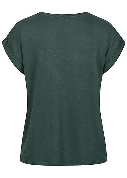 VILA Damen NOOS Satin Blusen Shirt mit Flügelärmeln Materialmix darkest spruce