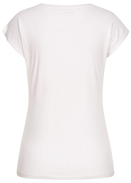 Seventyseven Lifestyle Damen T-Shirt Everything Feder Print Paillettenfront weiss