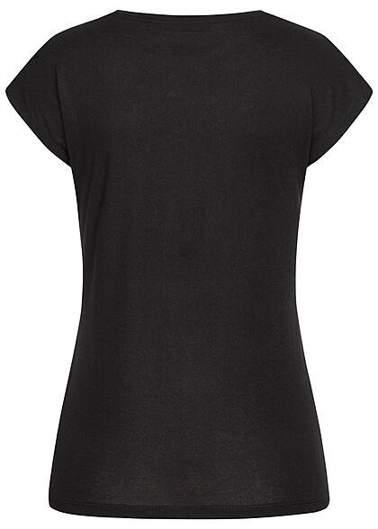 Seventyseven Lifestyle Damen T-Shirt Everything Feder Print Paillettenfront schwarz