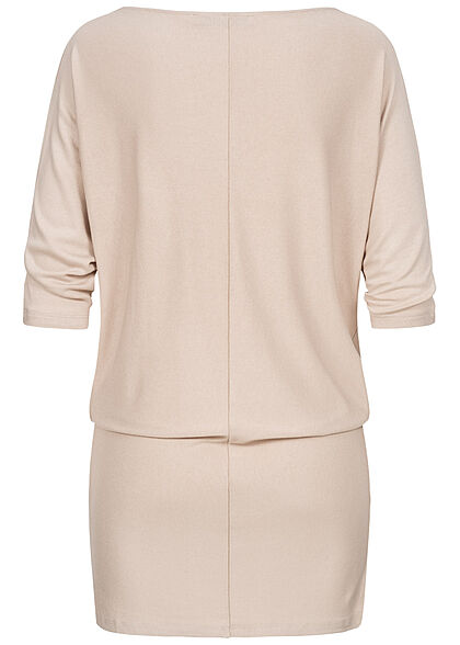 Seventyseven Lifestyle Damen 3/4 Fledermausarm Longform Pullover Boatneck beige
