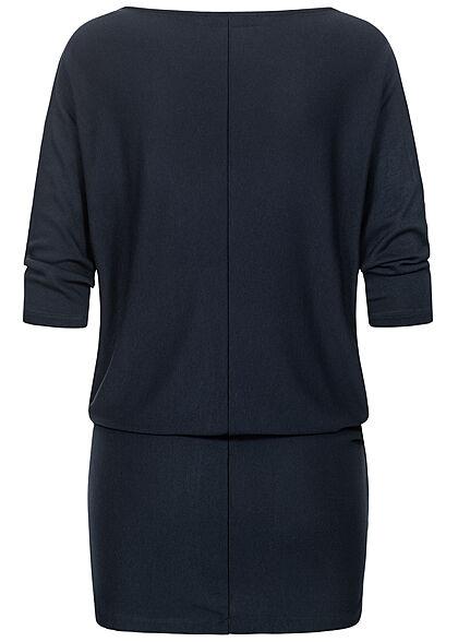 Seventyseven Lifestyle Damen 3/4 Fledermausarm Longform Pullover Boatneck navy blau