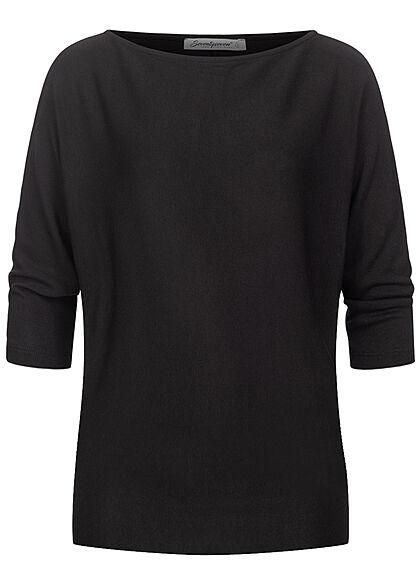 Seventyseven Lifestyle Damen 3/4 Fledermausarm Longform Pullover Boatneck schwarz