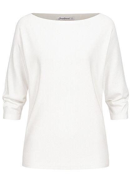 Seventyseven Lifestyle Damen 3/4 Fledermausarm Longform Pullover Boatneck weiss