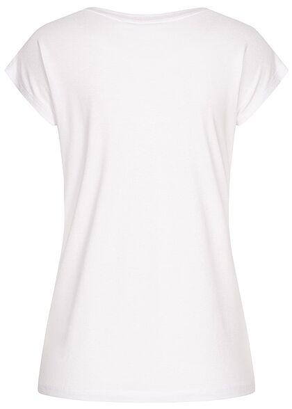 Seventyseven Lifestyle Damen Casual T-Shirt mit Happy Love Paillettenfront weiss