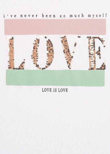 Seventyseven Lifestyle Damen Casual T-Shirt mit Pailletten Love is Love Print weiss