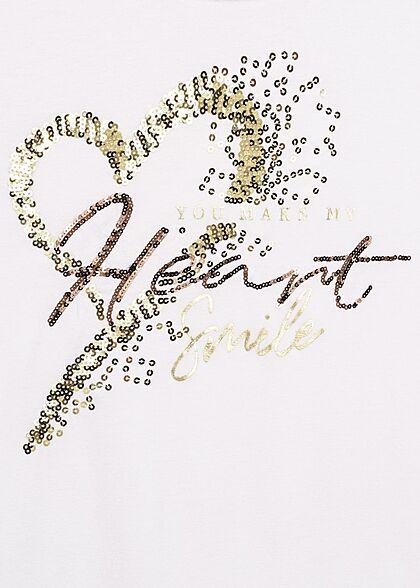 Seventyseven Lifestyle Damen Casual T-Shirt mit Pailletten Heart Smile Print weiss gold